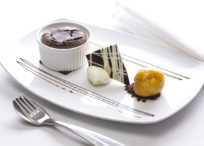 Chocolate Pudding with Passion fruit Sorbet